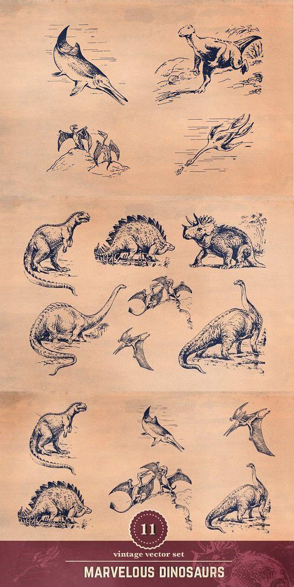 11 Vintage Dinosaur Illustrations #dinosaurillustration 11 Vintage Dinosaur Illustrations #dinosaurillustration