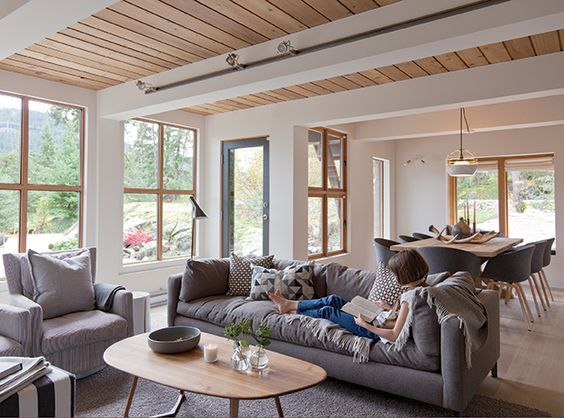 A modern cabin in Whistler, B.C., shows the warmer side of Scandinavian style | House & Home March 2016 page 50 | Love the grey + white + wood combo