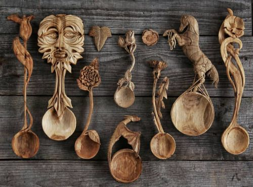 Exquisite Hand Carved Wooden Spoons Uk Based Artist Giles Newman