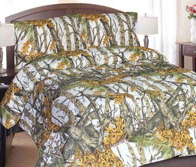 Regal Comfort White Snow Woodland Camo Comforter Sheet Set Bed