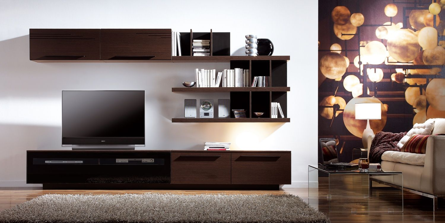 Great Furniture, Contemporary And Elegant Design Wall Cabinets For LED TV Ideas:  Decorative Living Room With Walnut Mount On Wall TV Cabinets Furn. Part 15