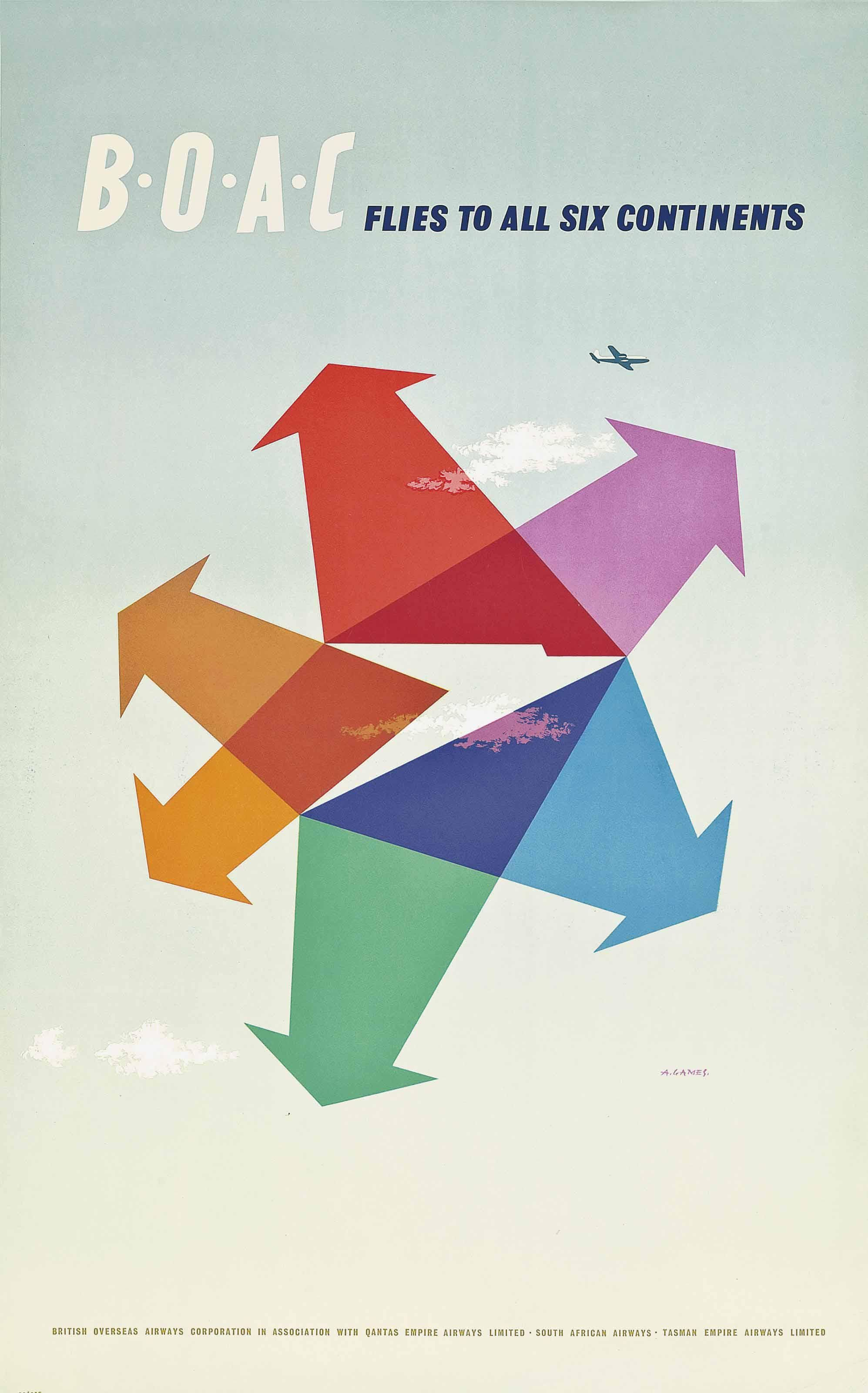 """BOAC """"All Six Continents"""" poster 1956 [1995 x 3200 ..."""