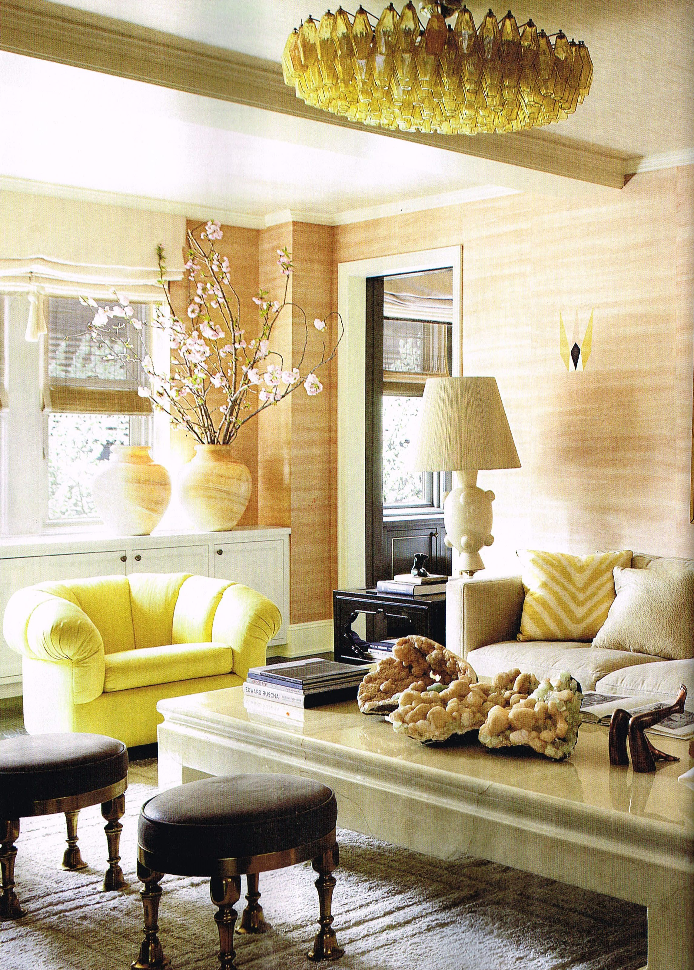 Living Room. Murano glass chandelier & de Gournay wall covering ...