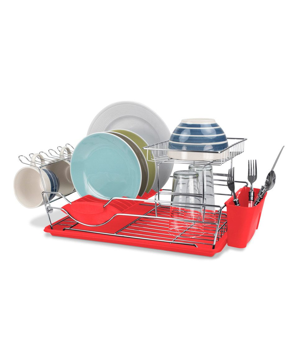 Home Basics 2 Tier Dish Rack Brilliant Red & Chrome Twotier Dish Drainerhome Basics #zulily Design Ideas