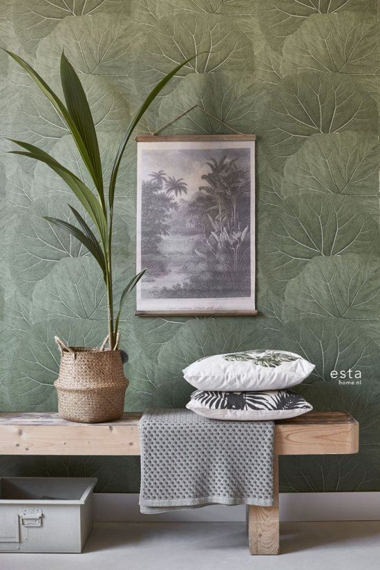 ESTAhome 138995 Vliesbehang Grote Bladeren - 53 x 1005 cm - Vergrijsd/Olijfgroen
