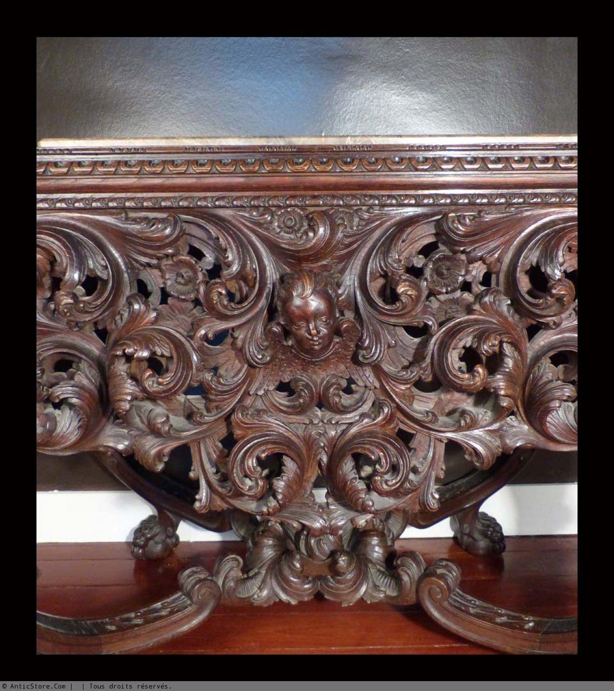 Console baroque en chêne richement sculptée. Italie fin XIXème - AnticStore Antiquités 19ème siècle - Réf.33165