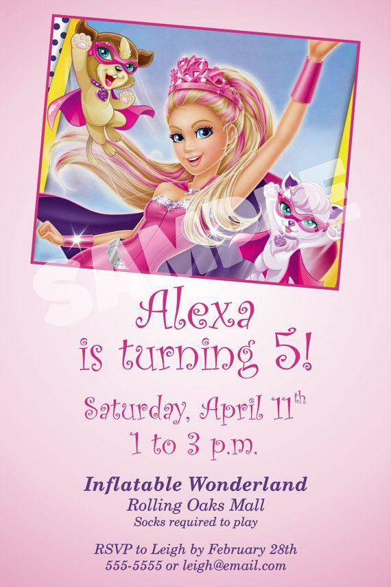 Barbie Princess Power Birthday Invitation, Princess Power Barbie ...