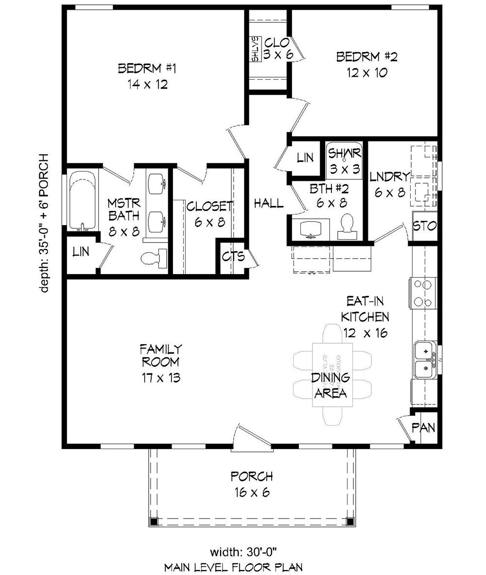 House Plan 940 00088 Narrow Lot Plan 1 050 Square Feet 2 Bedrooms 2 Bathrooms Bedroom House Plans Small House Floor Plans Floor Plans