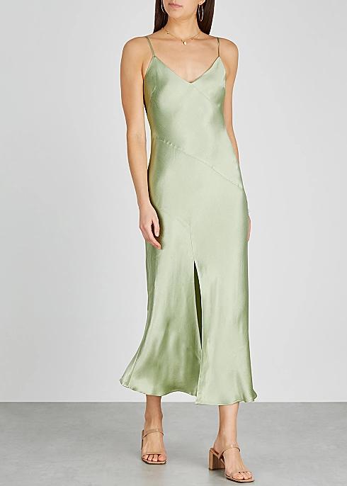 Bec Bridge Crest Light Green Satin Midi Dress Harvey Nichols In 2020 Light Green Dress Satin Midi Dress Midi Dress