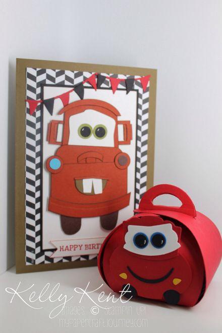 Cars Movie - Mater Punch Art Card & Lightning Mcqueen Curvy Keepsake Box. Kelly Kent - mypapercraftjourney.com.