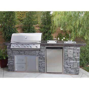 Kitchenaid Stone Island 9 Burner Grill In 2021 Outdoor Kitchen Design Layout Outdoor Kitchen Design Outdoor Kitchen Countertops