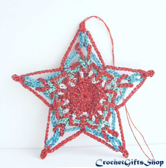 Crochet Patterns Christmas Star Ornaments Pdf Pattern Instant