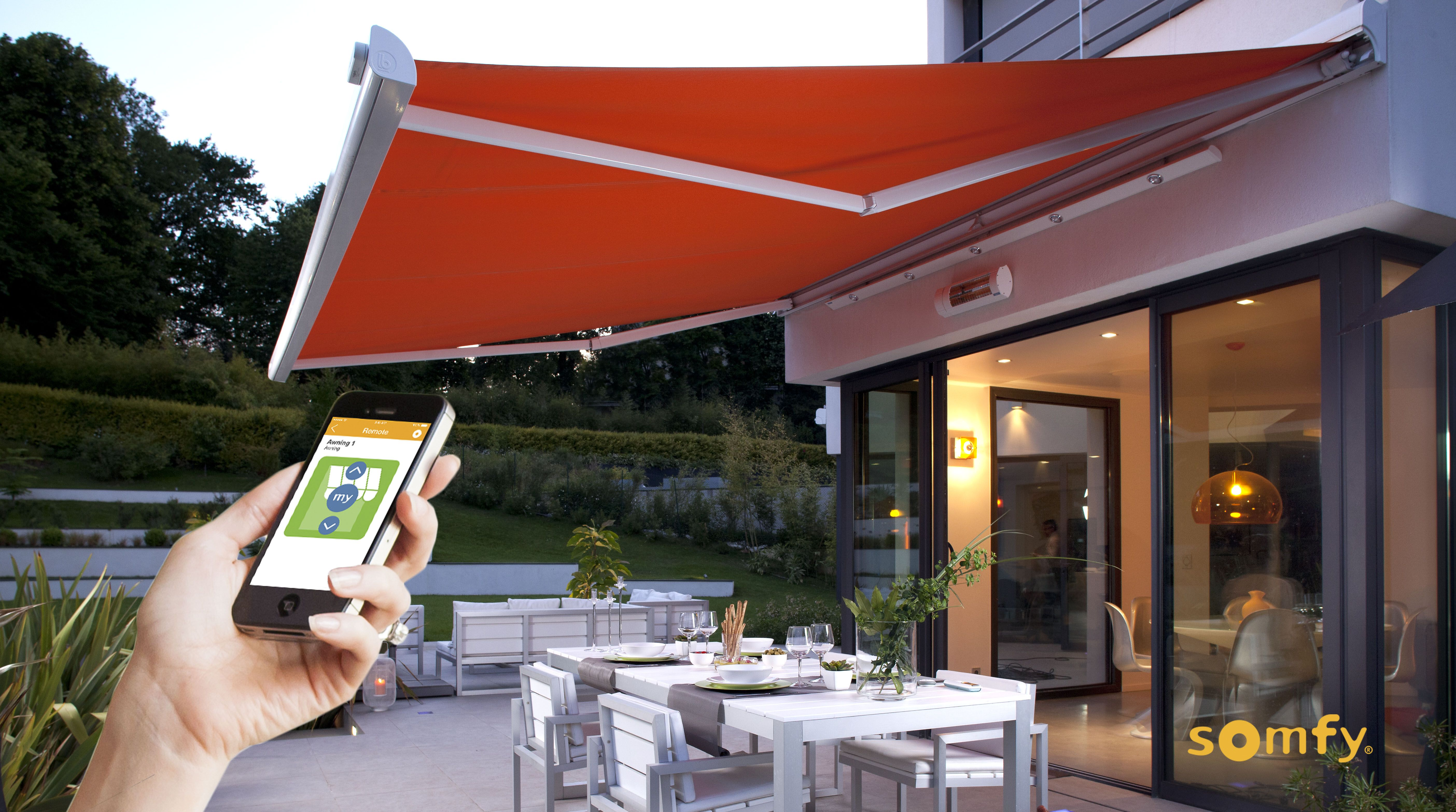 Somfy Electric Motors Remote Controls And Automation For Rolling Shutters Awnings Patio Blinds Indoor Blinds Sh Patio Shade Exterior Shades Patio Awning