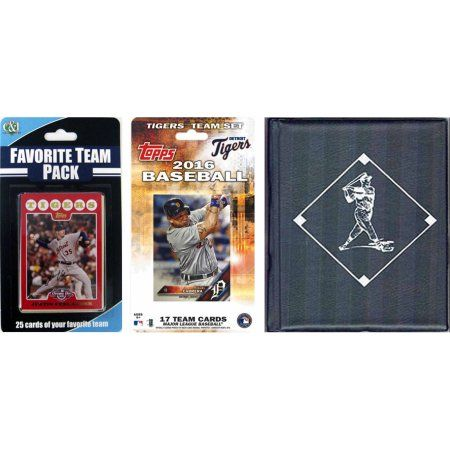 C Collectables MLB Detroit Tigers Licensed 2016 Topps Team Set and Favorite Player Trading Cards Plus Storage Album