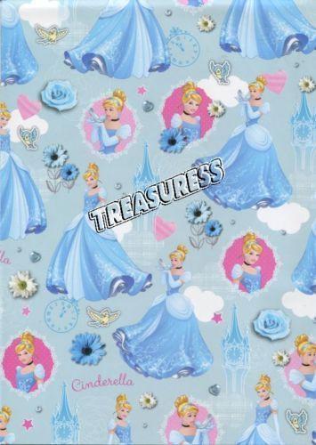 Licensed Disney Princesses ●● Cinderella GIFT WRAP SHEETS x2 - 700mm x 495mm ●●
