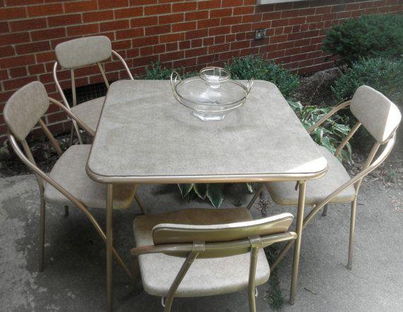 Mid Century Hamilton Cosco Card Table And 4 Folding Chairs