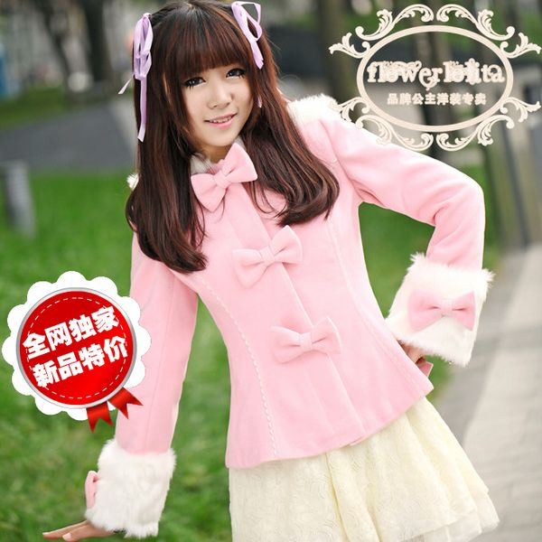 Flower lolitaの2016新款洛丽塔蝴蝶结带帽毛毛袖毛呢短外套(Y33)