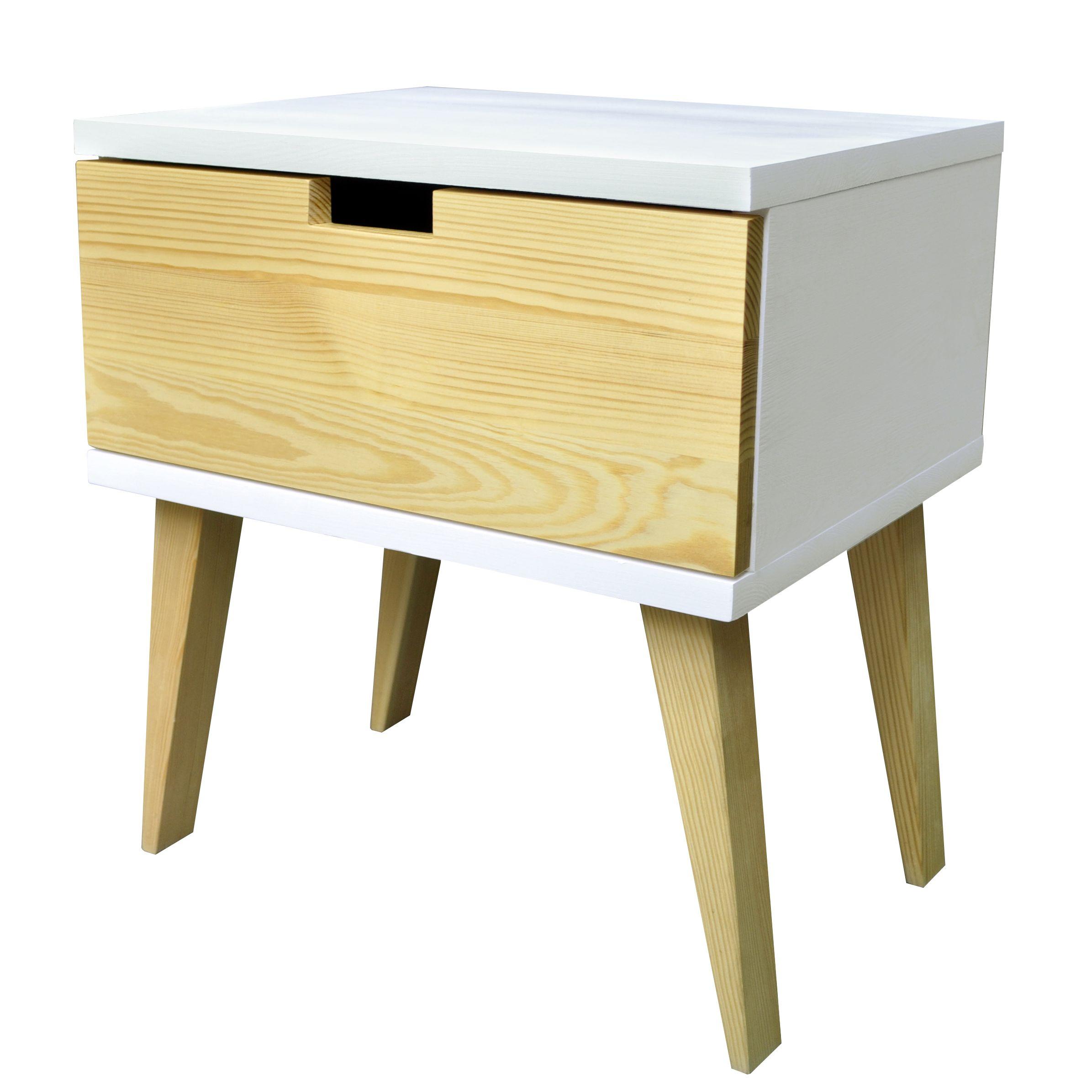 Der Nachttisch MFD338 ist ein Mix aus einem weißen Korpus, Beinen ...