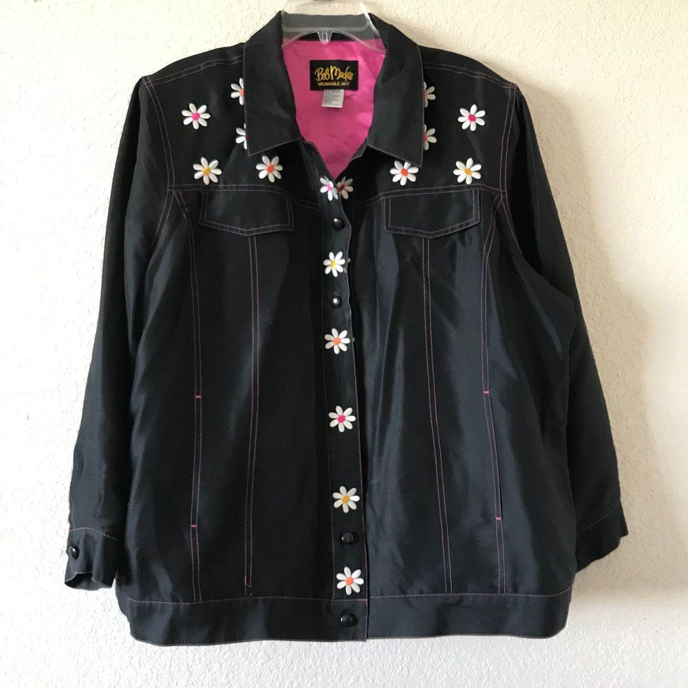 Bob mackie wearable art embroidered flowers long sleeve