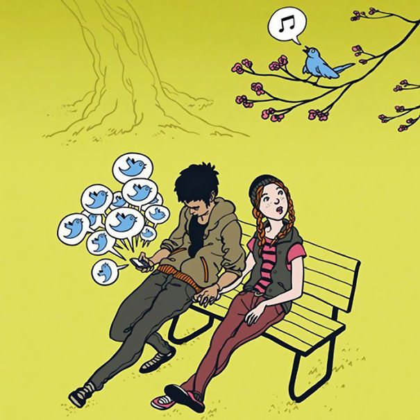 Satirical Illustrations Show Our Addiction To Technology - Clever illustrations show two different kinds people world