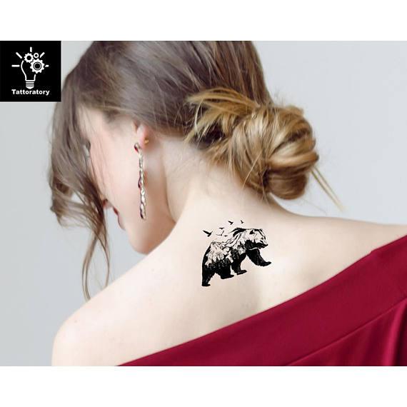 Bear Temporary Tattoo Bear Tattoo Bear Fake Tattoo Black Bear Tattoo Mountain Tattoo Bird Tattoo Tree Tattoo Forest Tattoo Nature Tattoo