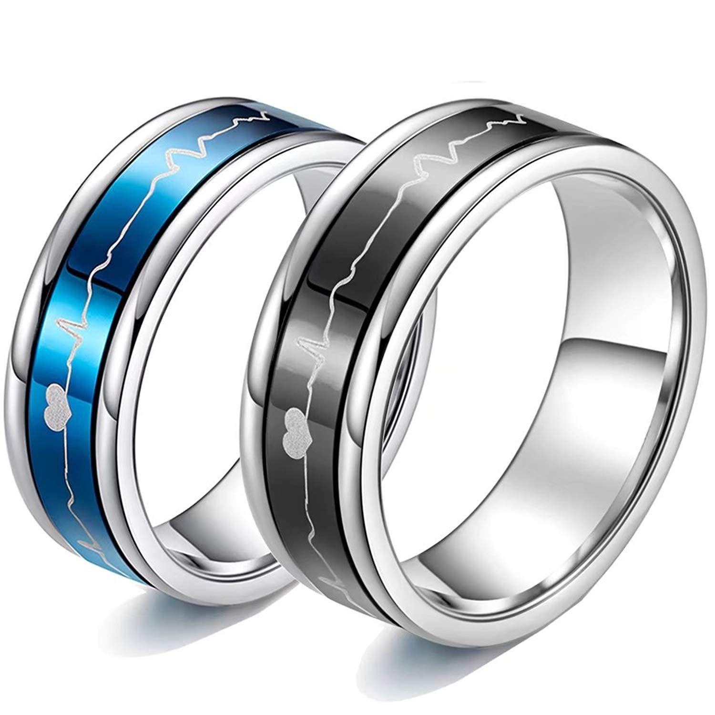 Romantic Matching Couple Rings Titanium Steel Wedding