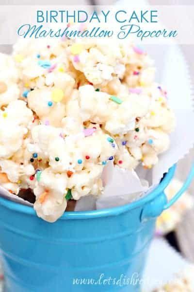 Birthday Cake Marshmallow Popcorn | Let's Dish Recipes