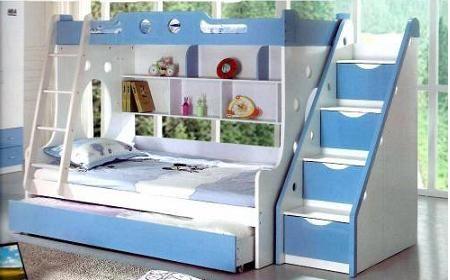 Cama camarote con escalera lateral con cajones muebles for Cama bajo escalera