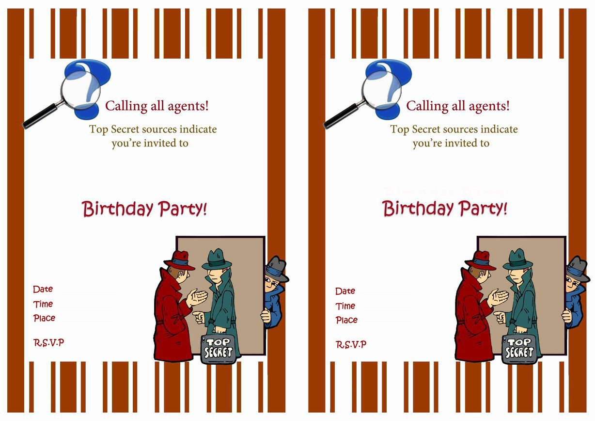 Spy Free Printable Birthday Party Invitations Birthday Party Invitations