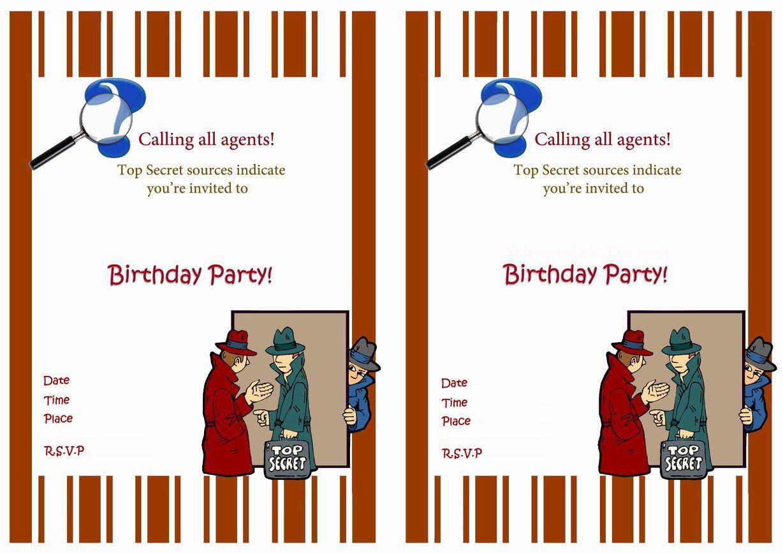 Spy Free Printable Birthday Party Invitations Birthday Party Invitations