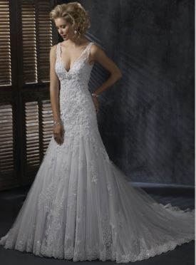 A-line V Neck Satin Lace Embroidery Royal Length Train Beach Wedding Dress WD05012