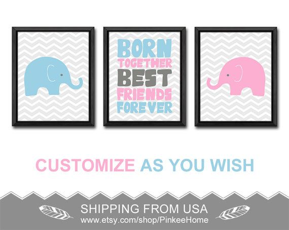 Baby elephant twins nursery art big brother little sister nursery baby elephant twins nursery art big brother little sister nursery decor twin boy girl baby gifts negle Image collections