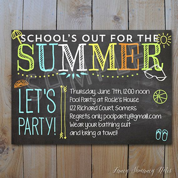 pool party invitation end of year party school s out for the