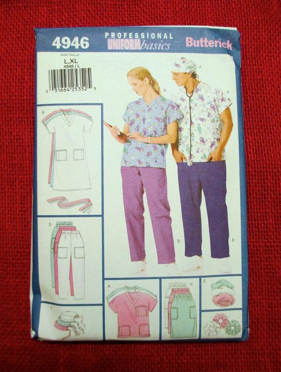 Butterick Sewing Pattern 4946 Unisex Scrubs By Alicessewingcorner