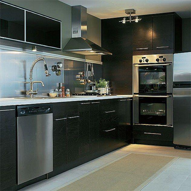 Kitchen Ideas For 2013 Part - 35: Super Black Color Designs Ikea Kitchen Cabinets Ideas