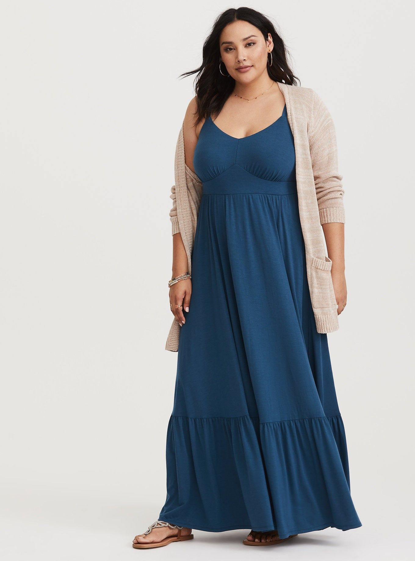 Teal tiered jersey maxi dress in maxi dresses pinterest