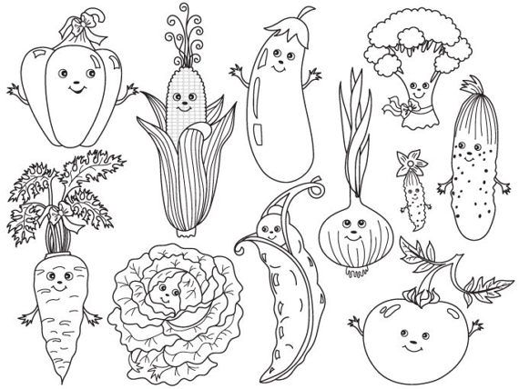 Vegetables Clipart Digital Vector Tomato Carrot Pepper Etsy Vegetable Cartoon Clip Art Vegetable Coloring Pages