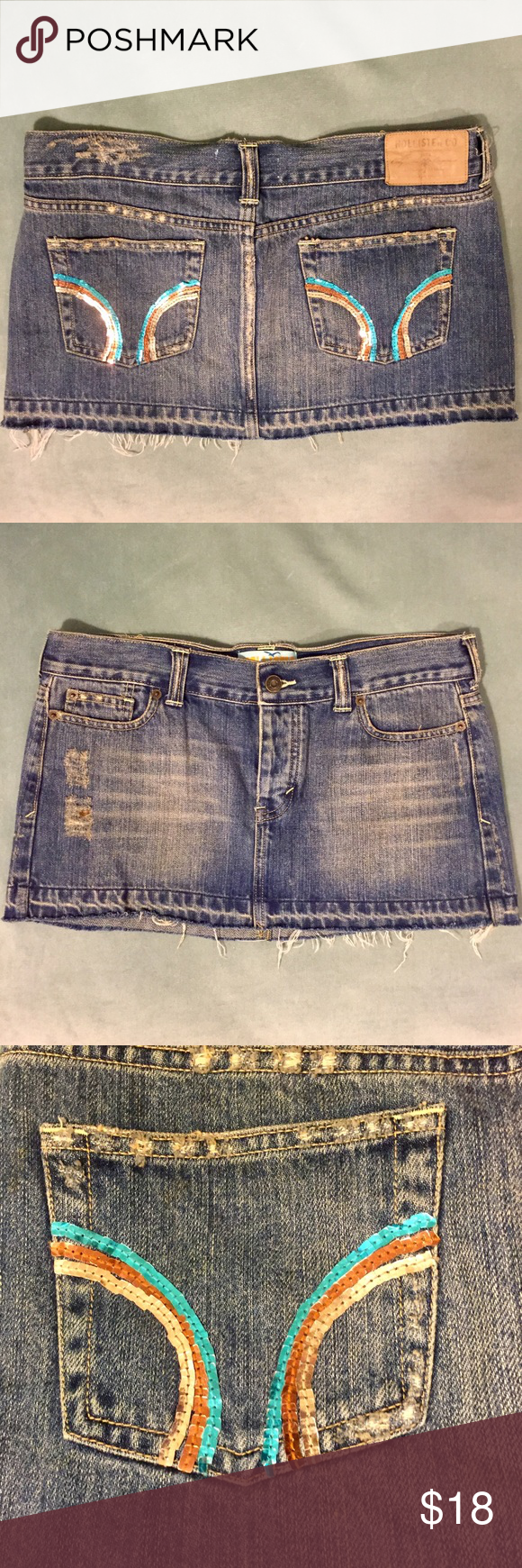 """Hollister Denim Mini Skirt OBO EUC! Front measures 11"""" from top to bottom. Back measures 11.5"""" from top to bottom. Hollister Skirts Mini"""