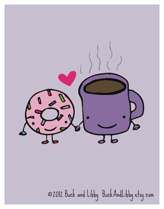 Donut Loves Coffee 8.5 x 11 Illustration Print by by BuckAndLibby