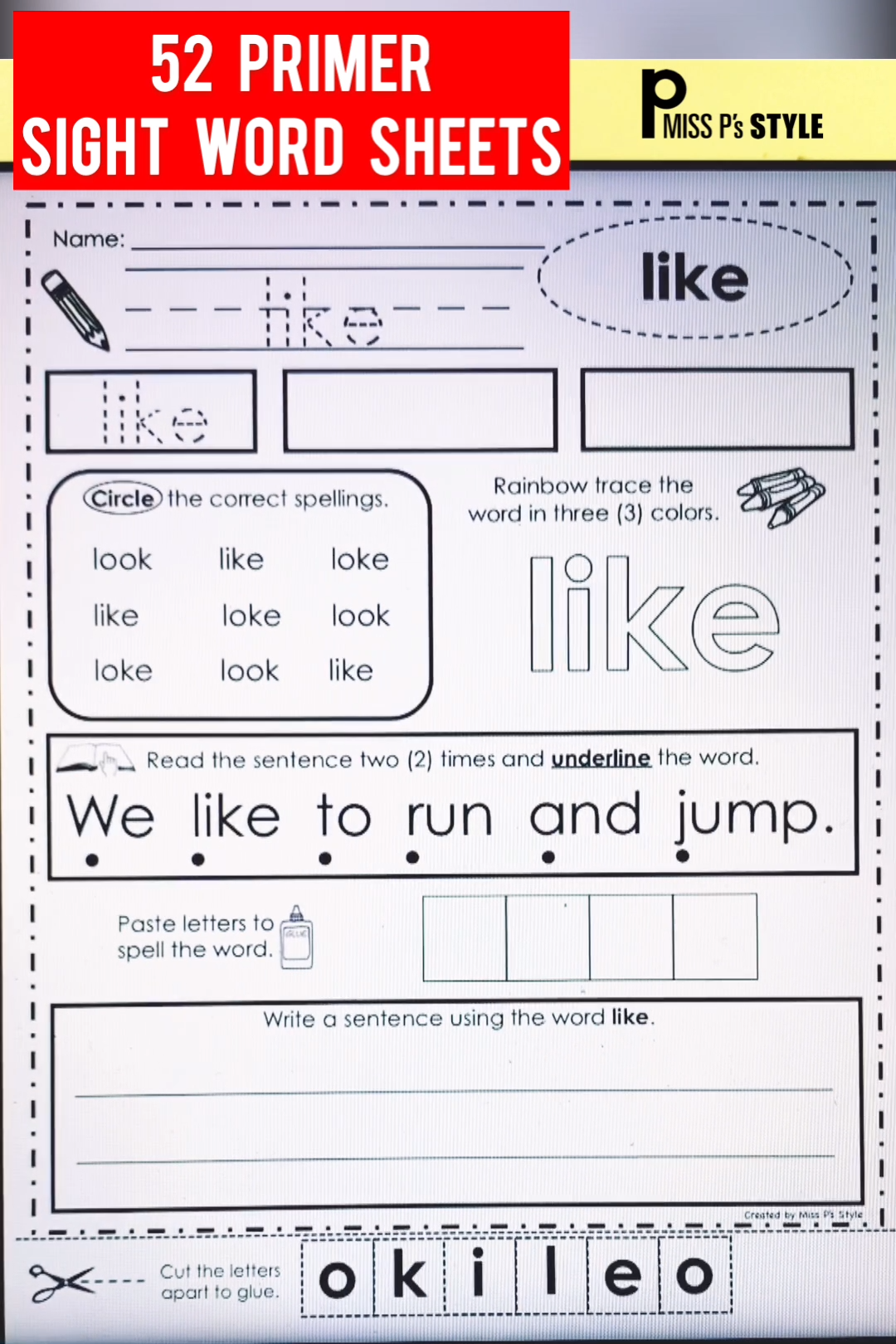 This Set Of Sight Word Pages Provide Many Ways To Practice