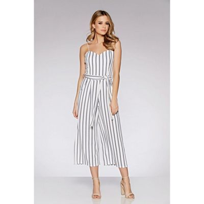a98c225380d2 Quiz White And Navy Stripe Tie Belt Culotte Jumpsuit