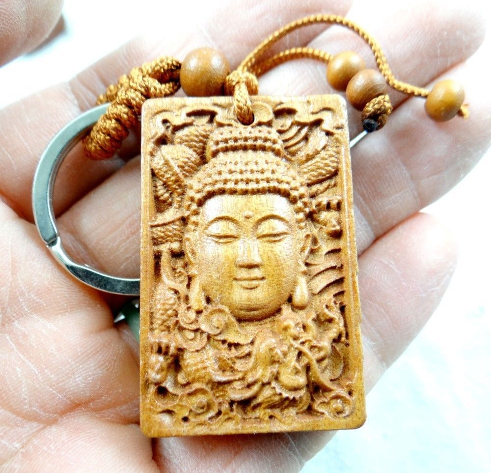 45*29MM Hand-carved Guanyin dragon Wooden Crafts, Key Chain, Key ...