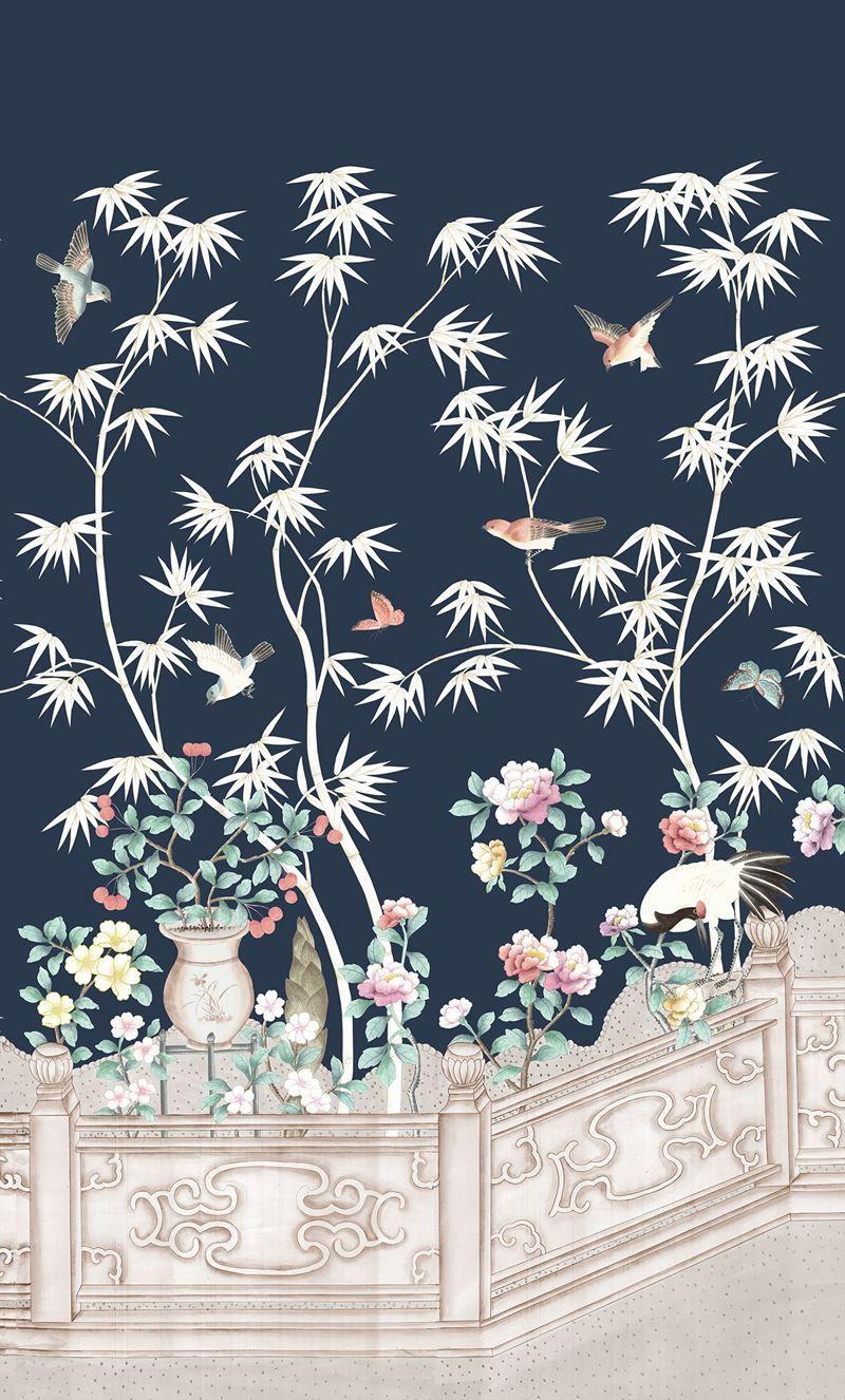 Inspiring midnight print indoor wallcovering by Brunschwig
