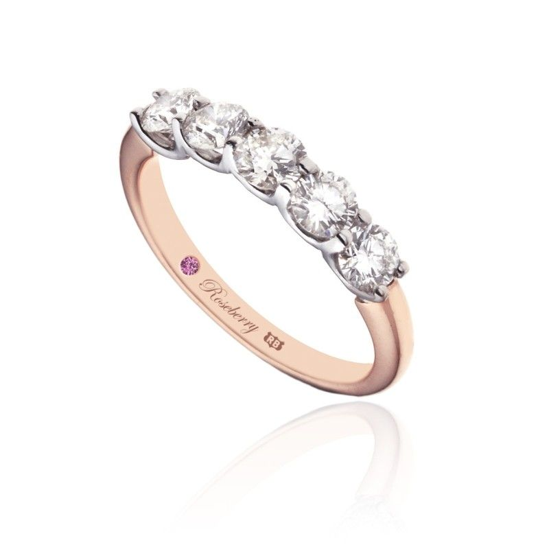 Roseberry Orchid 18ct Rose Gold 150 Carat Diamond Five Stone Eternity Ring