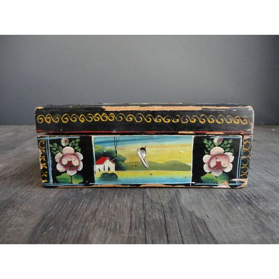 Vintage Mexican Treasure Box With Key Hand Painted By