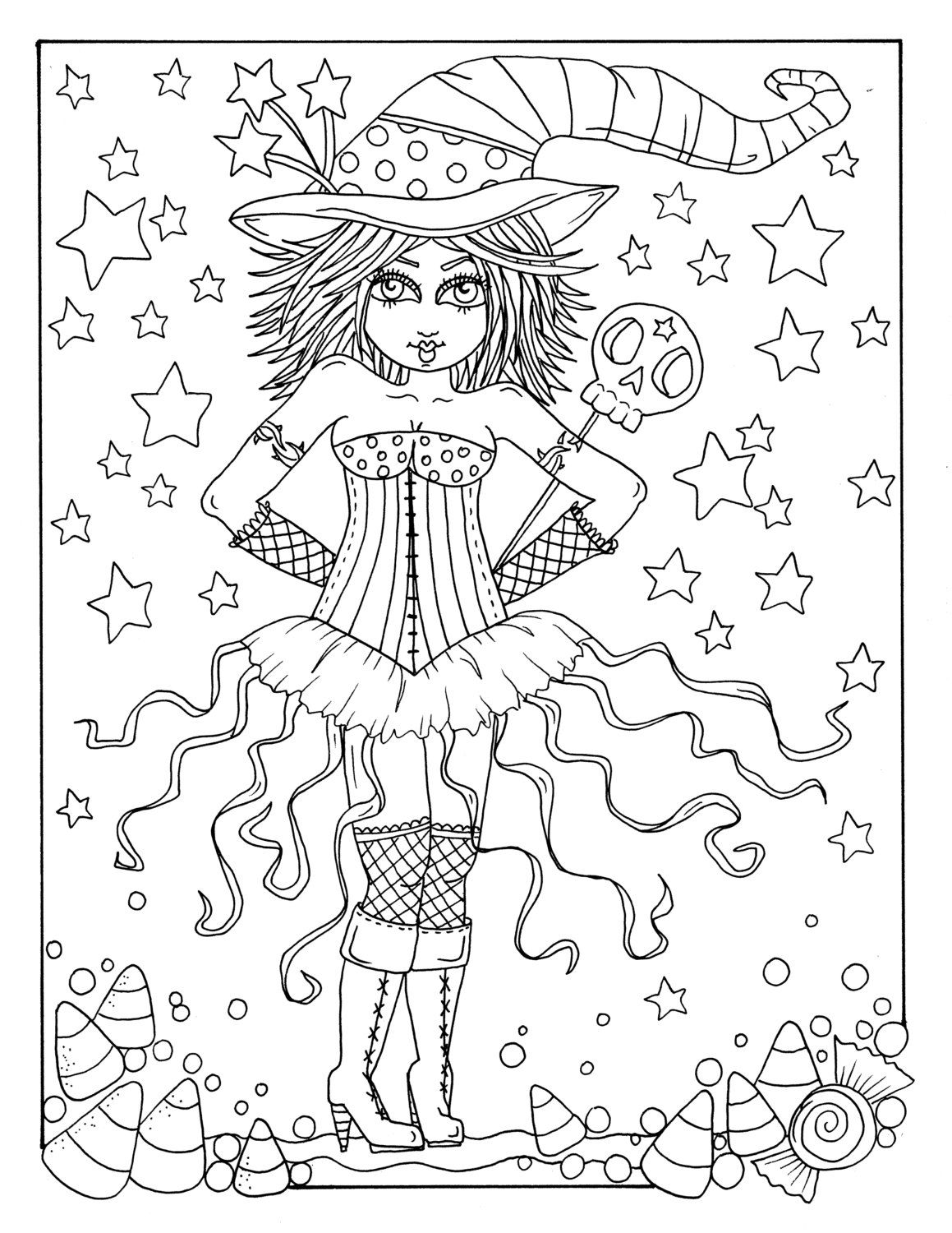 Deborah Muller Art Chubbymermaid Witch Coloring Pages
