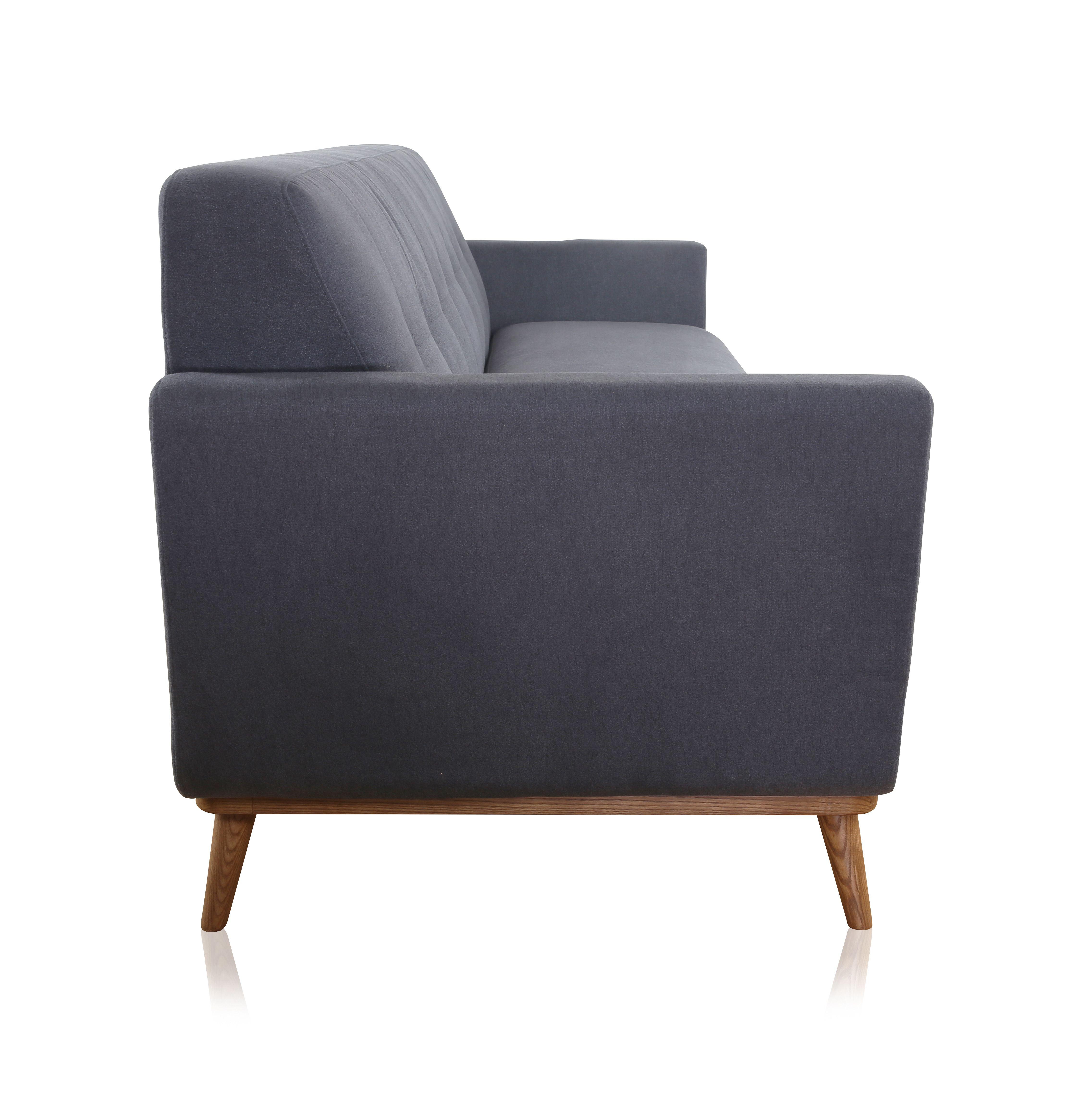 Gentil Karel Contemporary Gray Fabric 3 Seater Sofa