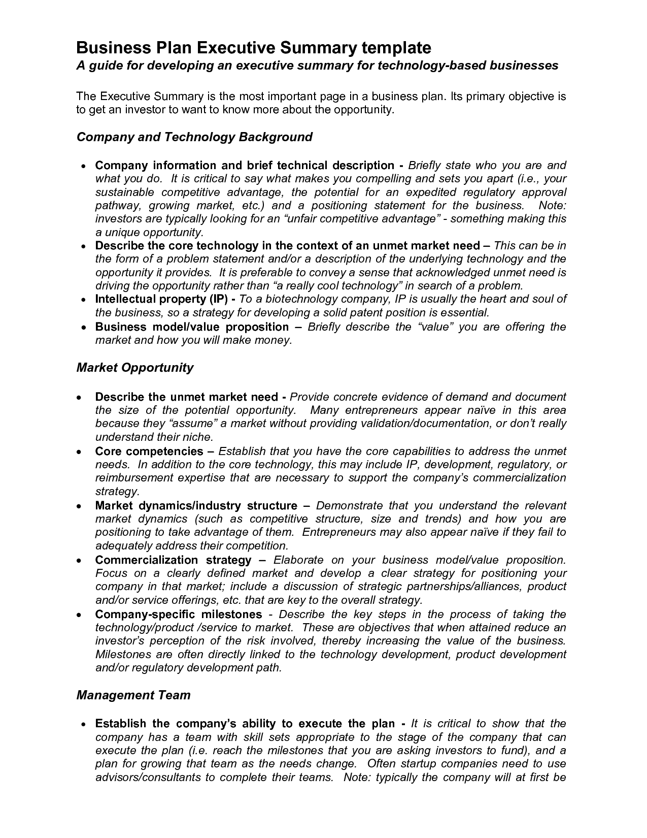executive summary proposal template – Writing Executive Summary Template