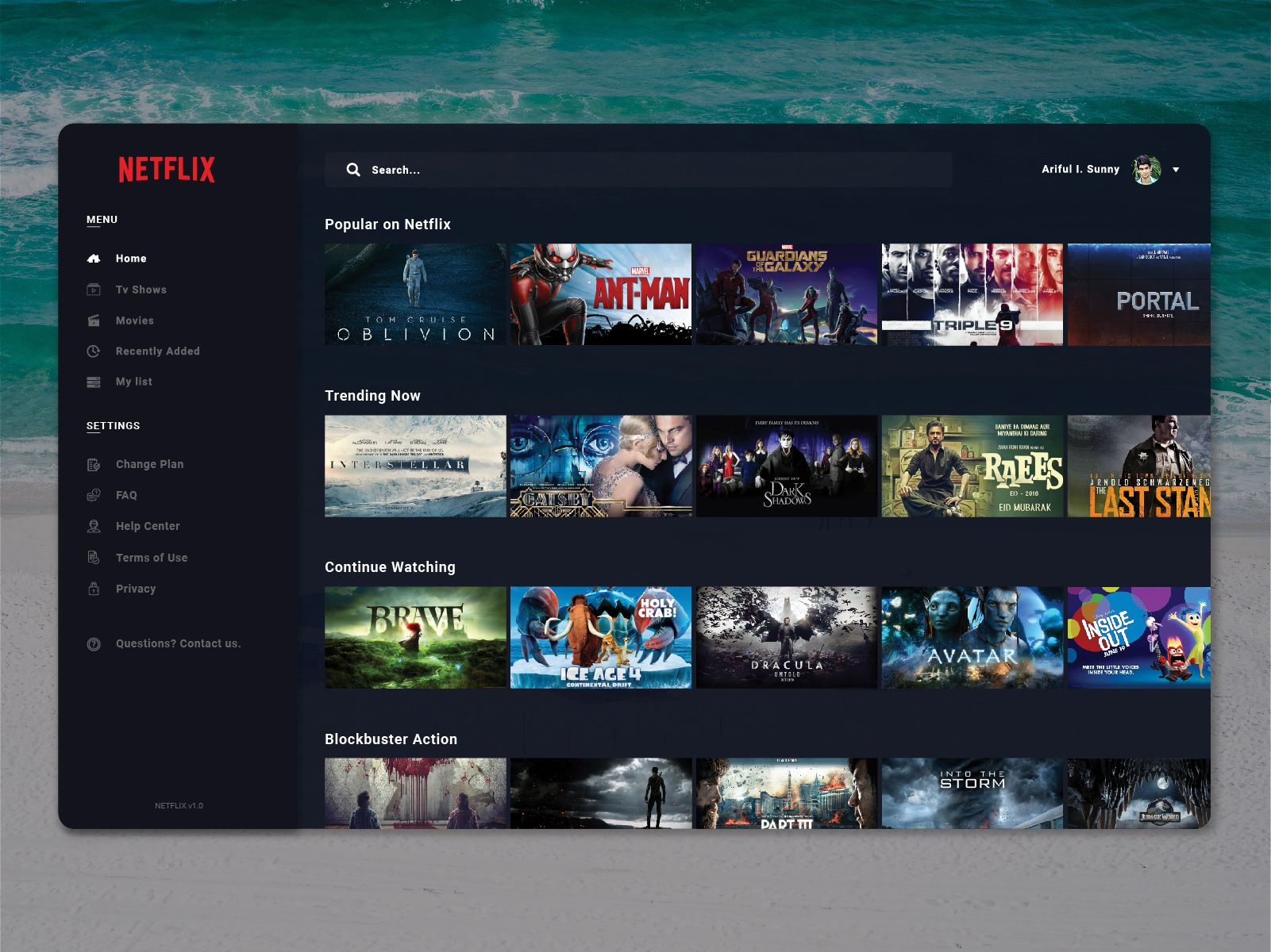 This is my concept of Netflix desktop application. Hope