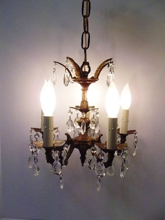 Petite Five Light Brass Crystal Chandelier 5 Arm Ornate Vintage